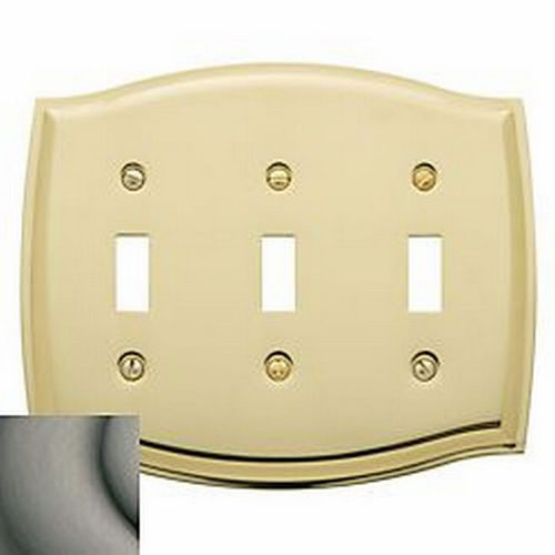 Baldwin 4780151 Triple Toggle Colonial Switch Plate, Antique Nickel
