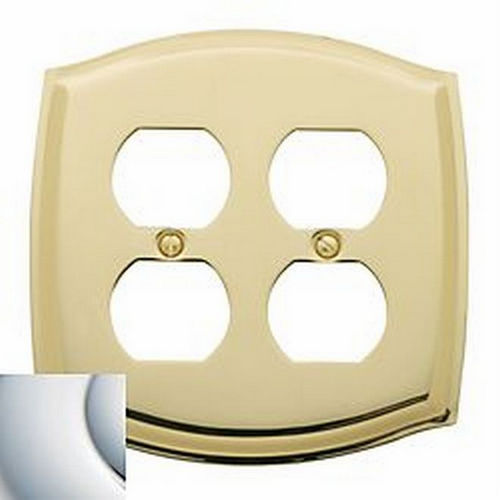Baldwin 4781260 Double Outlet Colonial Switch Plate, Bright Chrome