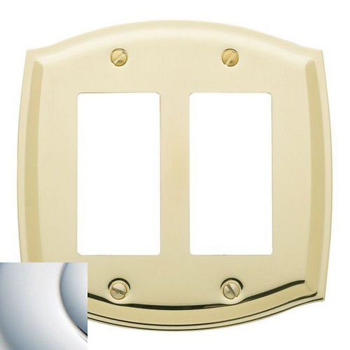 Baldwin 4787260 Double Rocker Colonial Switch Plate, Bright Chrome