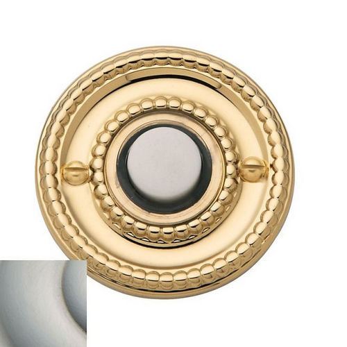 Baldwin 4850056 Beaded Round Bell Button, Lifetime Satin Nickel