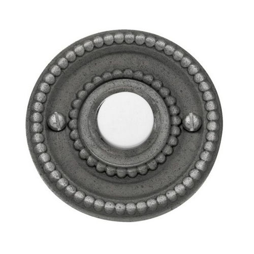 Baldwin 4850452 Beaded Round Bell Button, Distressed Antique Nickel