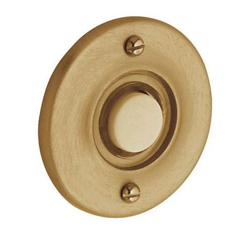 Baldwin 4851034 Round Bell Button, Lacquered Vintage Brass