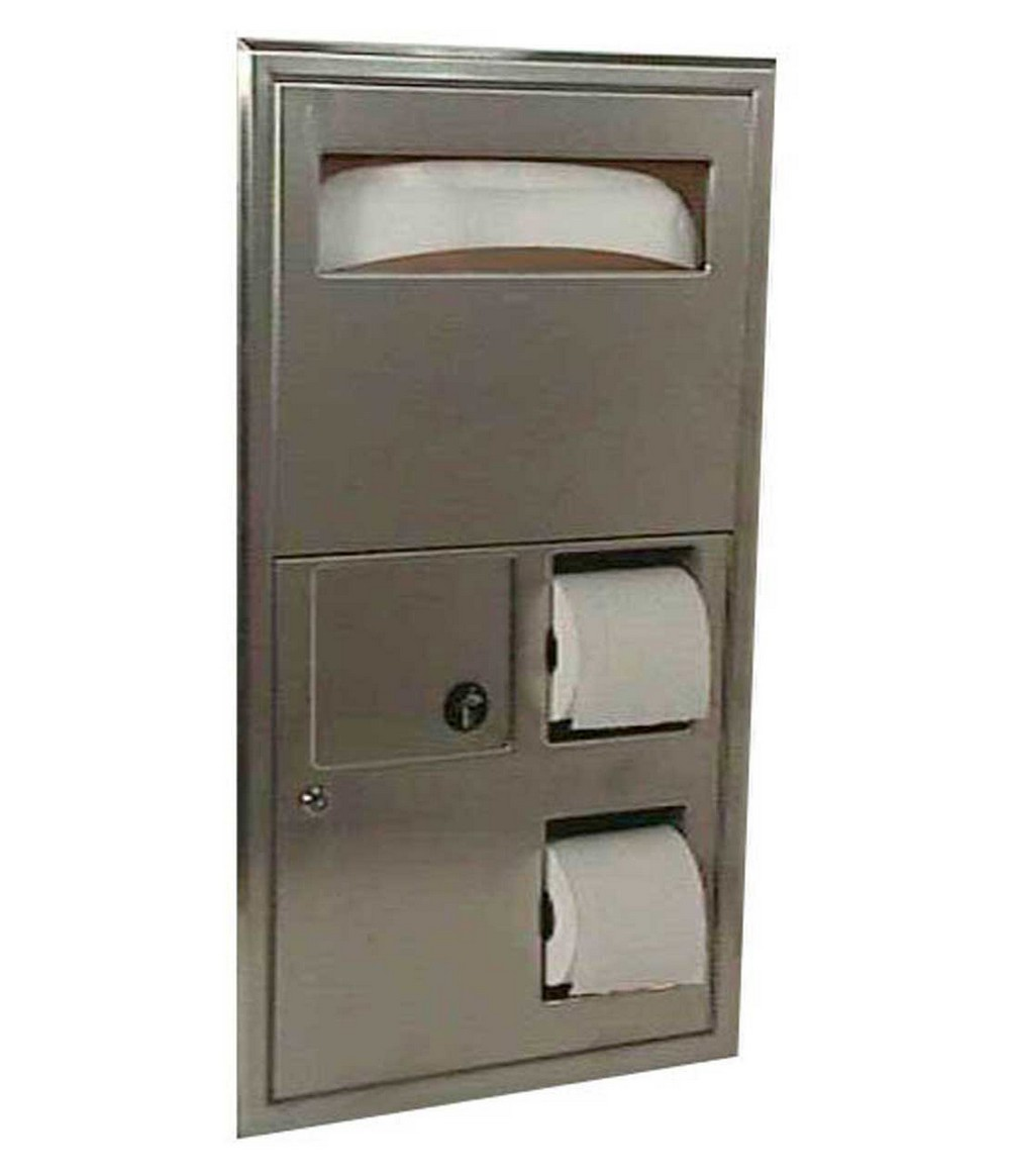 Bobrick b 3574 seat cover dispenser sanitary napkin for Toilet accessories