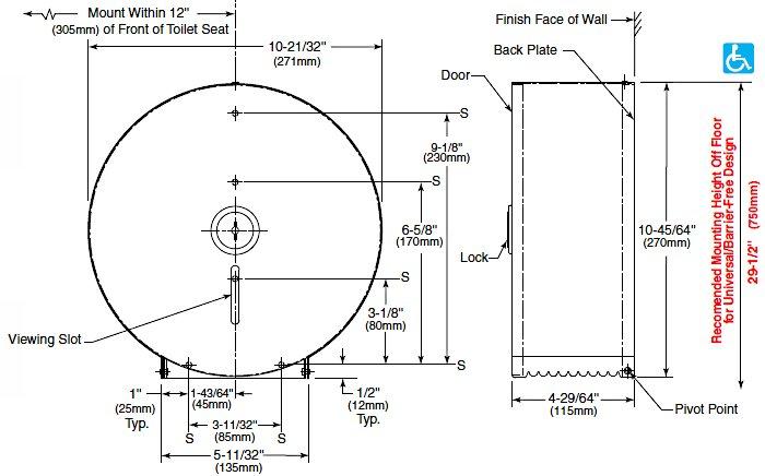 Bobrick B 2890 Single 10 Quot Roll Toilet Tissue Dispenser