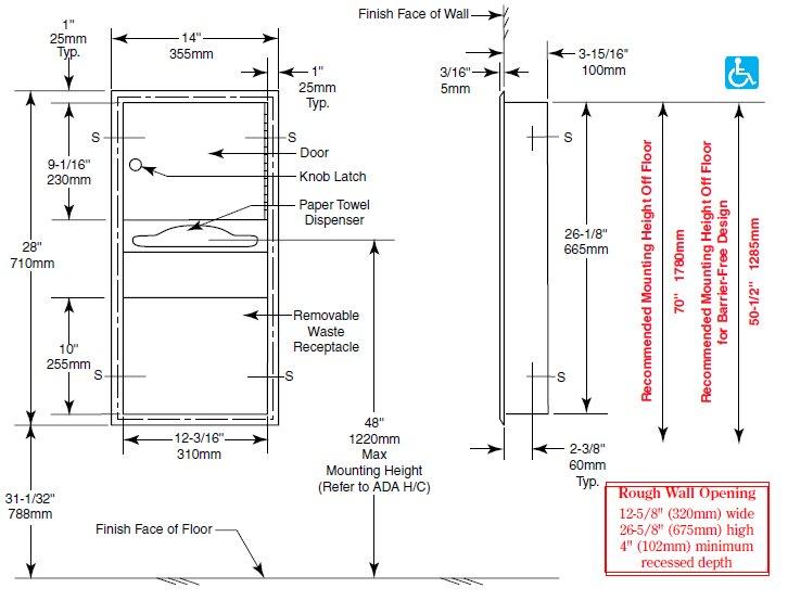 Bobrick B 369 Paper Towel Dispenser Amp Waste Receptacle
