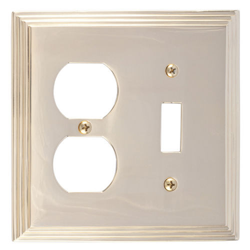 Brass Accents M02-S2540 Classic Steps Double, 1-Switch/1-Outlet, Bright Brass