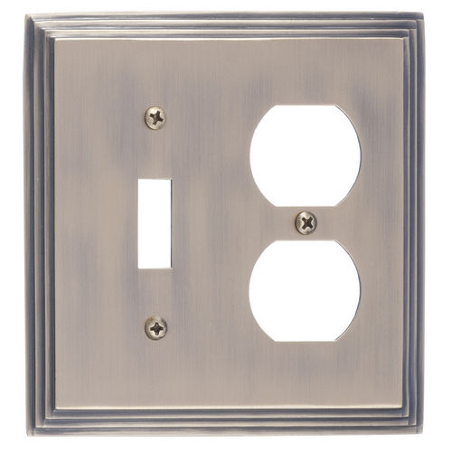 Brass Accents M02-S2540 Classic Steps Double, 1-Switch/1-Outlet, Antique Brass