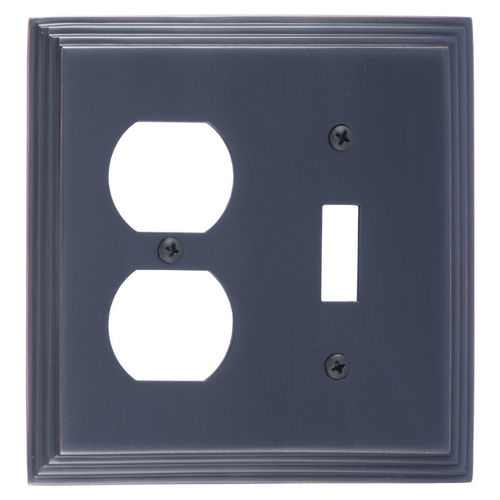 Brass Accents M02-S2540 Classic Steps Double, 1-Switch/1-Outlet, Venetian Bronze