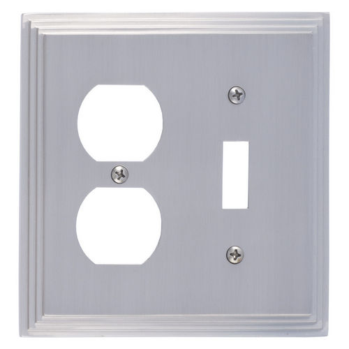 Brass Accents M02-S2540 Classic Steps Double, 1-Switch/1-Outlet, Satin Nickel