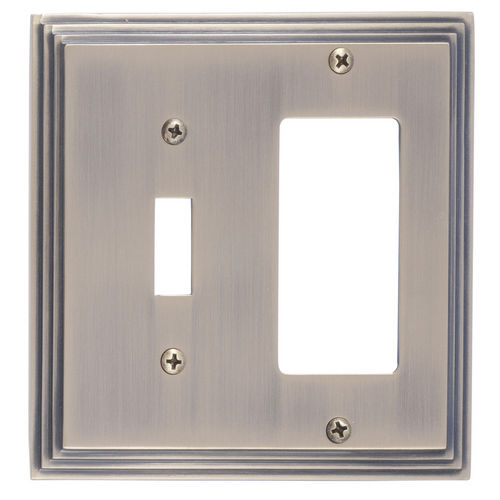 Brass Accents M02-S2571 Classic Steps Double, 1-Switch/1-GFCI, Antique Brass