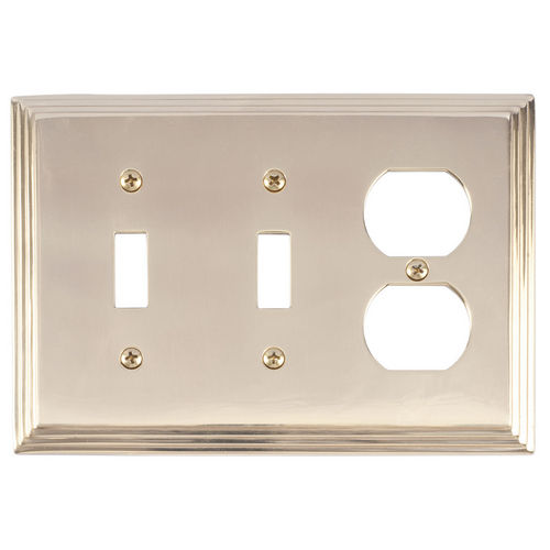 Brass Accents M02-S2580 Classic Steps Triple, 2-Switch/1-Outlet, Bright Brass