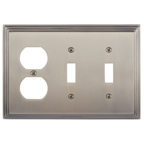 Brass Accents M02-S2580 Classic Steps Triple, 2-Switch/1-Outlet, Antique Brass