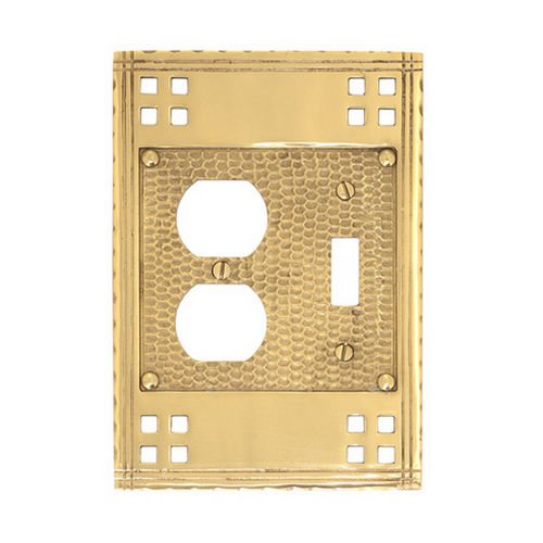 Brass Accents M05-S5640 Arts & Crafts Double Combo= 1 Switch & 1 Outlet 4-1/2