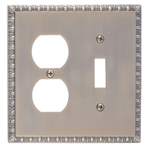 Brass Accents M05-S7540 Egg & Dart Double, 1-Switch/1-Outlet, Antique Brass