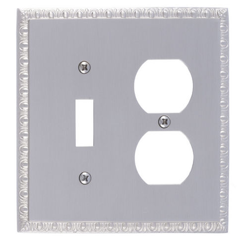 Brass Accents M05-S7540 Egg & Dart Double, 1-Switch/1-Outlet, Satin Nickel