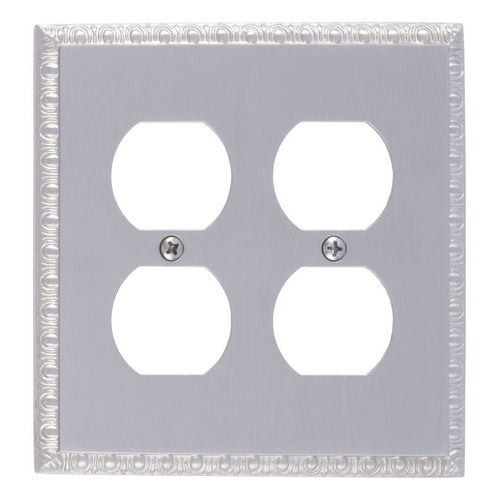 Brass Accents M05-S7560 Egg & Dart Double Outlet, Satin Nickel