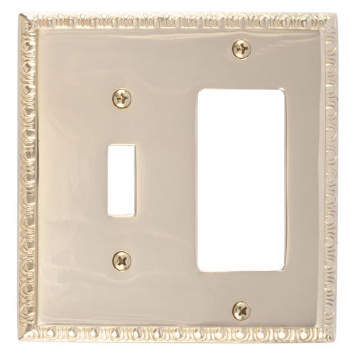 Brass Accents M05-S7571 Egg & Dart Double, 1-Switch/1-GFCI, Polished Brass