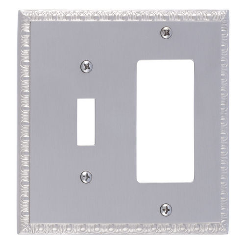 Brass Accents M05-S7571 Egg & Dart Double, 1-Switch/1-GFCI, Satin Nickel