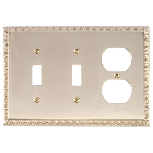 Brass Accents M05-S7580 Egg & Dart Triple, 2-Switch/1-Outlet, Polished Brass