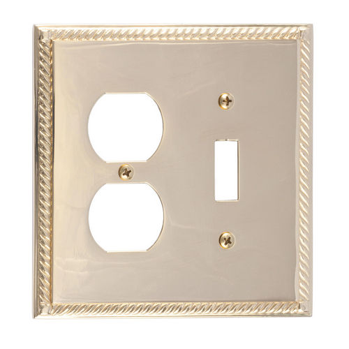 Brass Accents M06-S8540 Georgian Double, 1-Switch/1-Outlet, Polished Brass