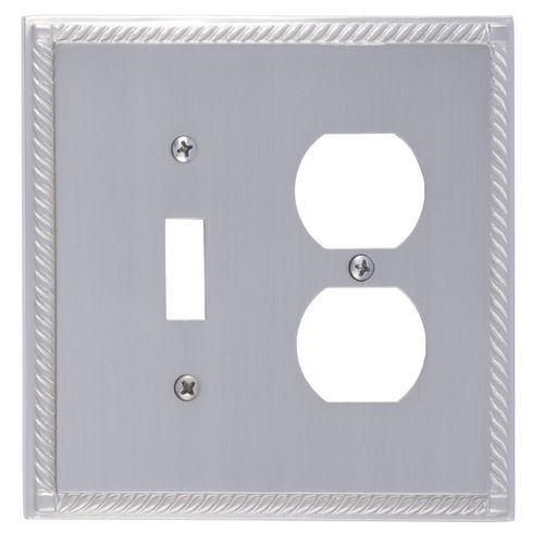 Brass Accents M06-S8540 Georgian Double, 1-Switch/1-Outlet, Satin Nickel