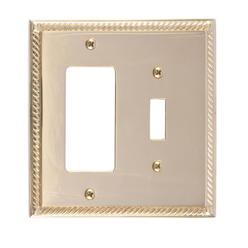 Brass Accents M06-S8571 Georgian Double, 1-Switch/1-GFCI, Polished Brass