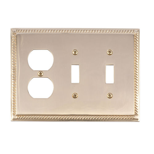 Brass Accents M06-S8580 Georgian Triple, 2-Switch/1-Outlet, Polished Brass