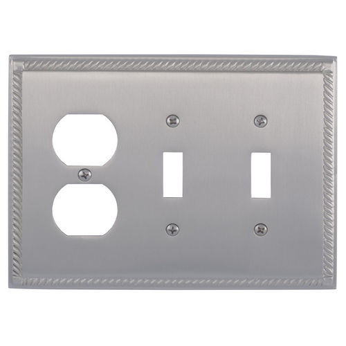 Brass Accents M06-S8580 Georgian Triple, 2-Switch/1-Outlet, Satin Nickel