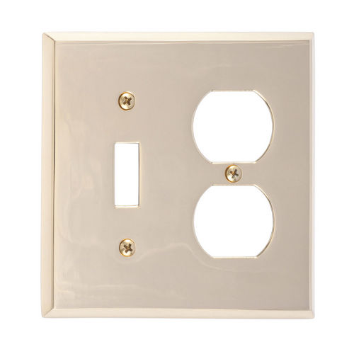 Brass Accents M07-S4540 Quaker Double; 1-Switch/1-Outlet, Bright Brass