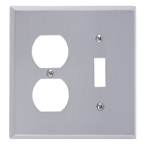 Brass Accents M07-S4540 Quaker Double; 1-Switch/1-Outlet, Satin Nickel