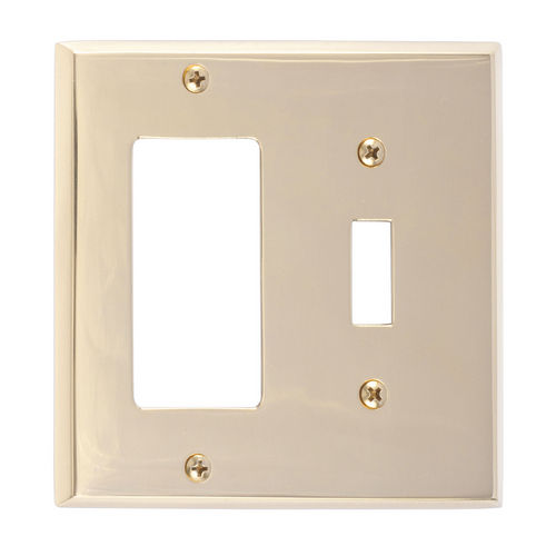 Brass Accents M07-S4571 Quaker Double; 1-Switch/1-GFCI, Bright Brass