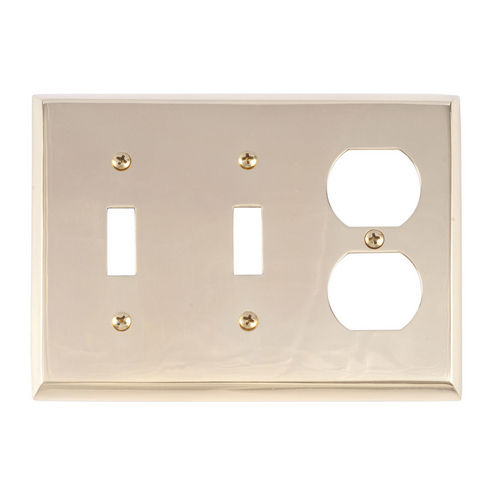 Brass Accents M07-S4580 Quaker Triple, 2-Switch/1-Outlet, Bright Brass