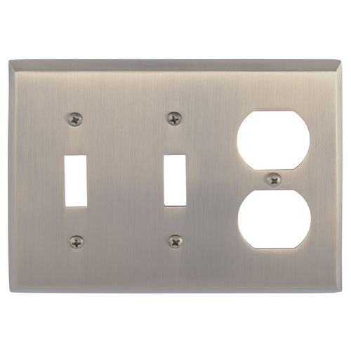 Brass Accents M07-S4580 Quaker Triple, 2-Switch/1-Outlet, Antique Brass
