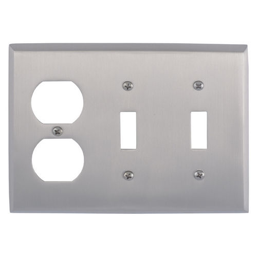 Brass Accents M07-S4580 Quaker Triple, 2-Switch/1-Outlet, Satin Nickel