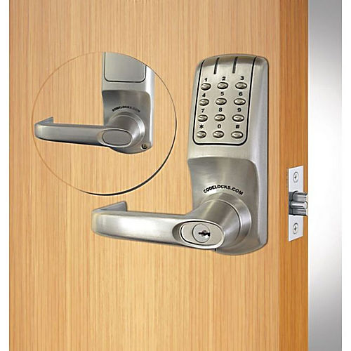 Codelocks CL5210BSIC Heavy Duty Electronic Keypad Lever Latchbolt Lock with Interchangeable Cylinder Brushed Steel