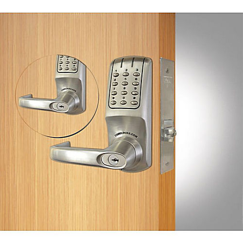 Codelocks CL5250BBBSIC Back to Back Mortise Keypad Lever Lock with Interchangeable Core Brushed Steel