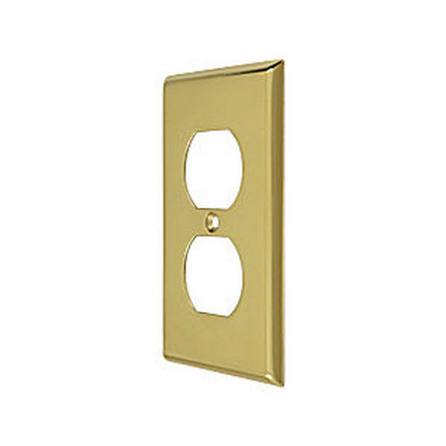 Deltana SWP4752U3 Switch Plate, Double Outlet, Polished Brass (Each)