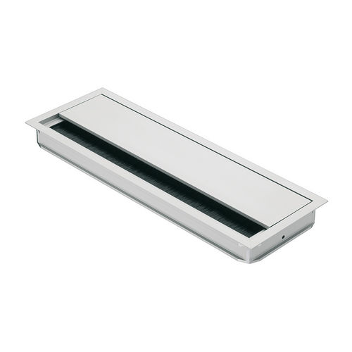 Hafele 631.29.912 Anodized Aluminum Grommet, Rectangular with Lid and Brush