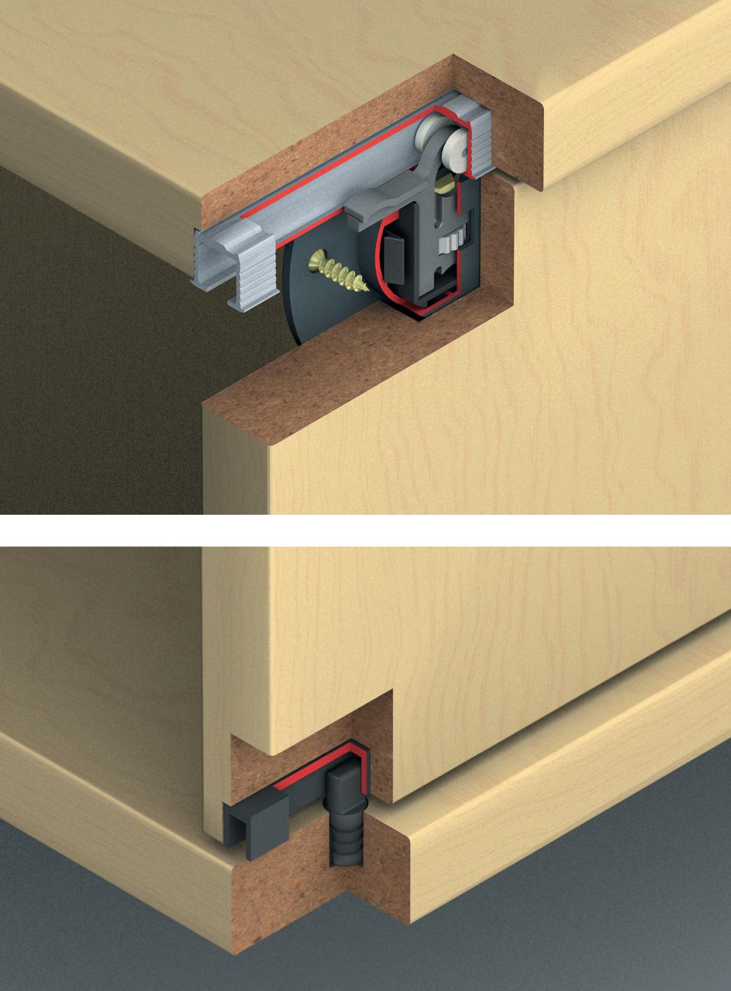hafele inslide sliding door set 2 doors. Black Bedroom Furniture Sets. Home Design Ideas