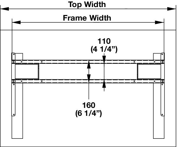 Hafele 630 44 328 J-Channel Sets, for AdjusTable System Electric Conversion  Table
