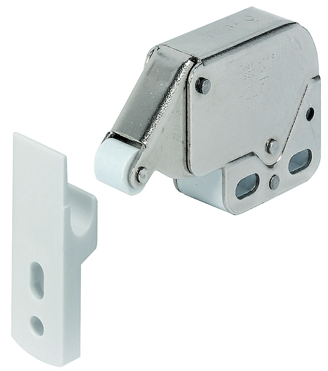 Hafele 245 54 701 Mini Latch Nickel Plated Plastic White Thebuilderssupply Com