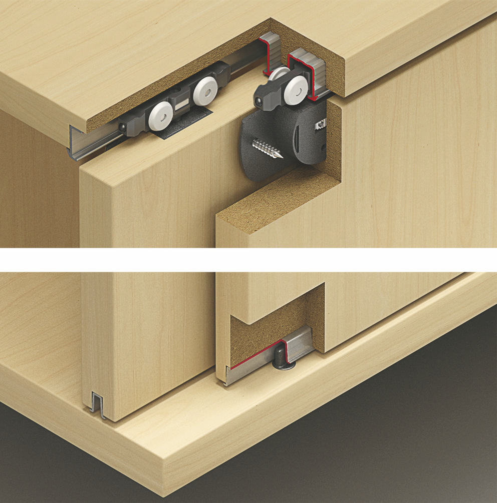 Hafele 402.30.014 Fitting Set For 2 Doors With Stopper |  TheBuildersSupply.com