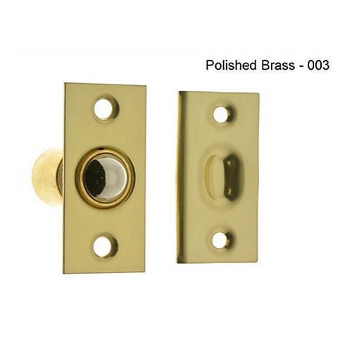 IDH 12010-3NL Narrow Square Roller Ball Catch, Polished Brass No Lacquer
