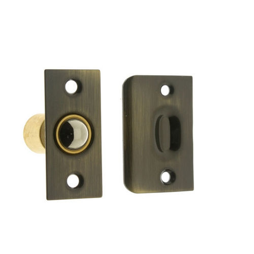 IDH 12011-004 Wide Square Roller Ball Catch, Satin Brass