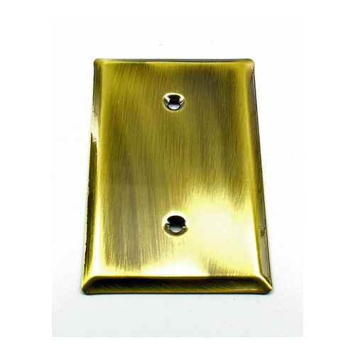 IDH 28010-003 Square Single Cover Plate, Polished Brass