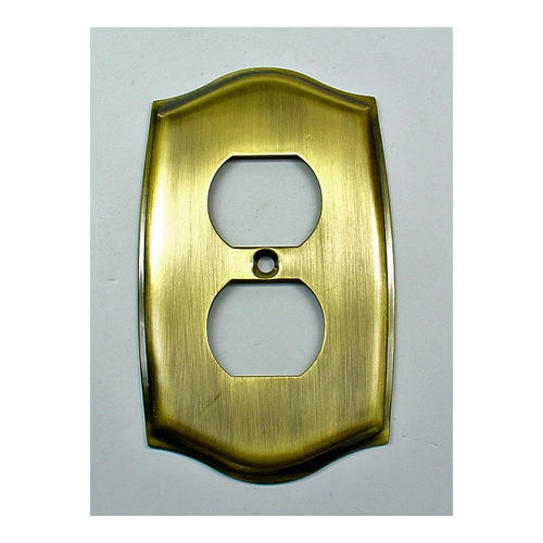 IDH 28034-005 Round Single Receptacle Plate, Antique Brass