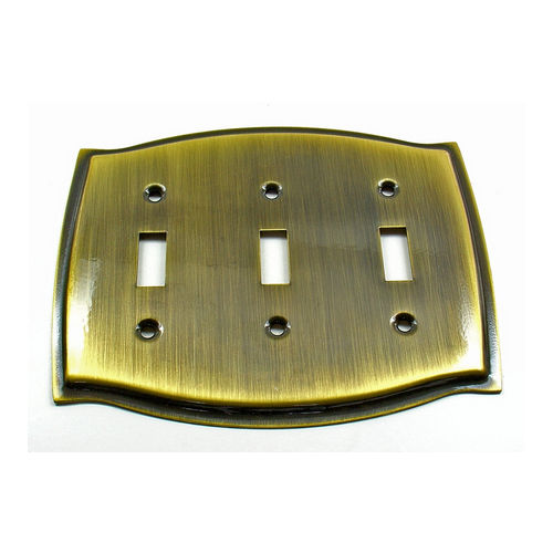 IDH 28042-003 Round Triple Switch Plate, Polished Brass