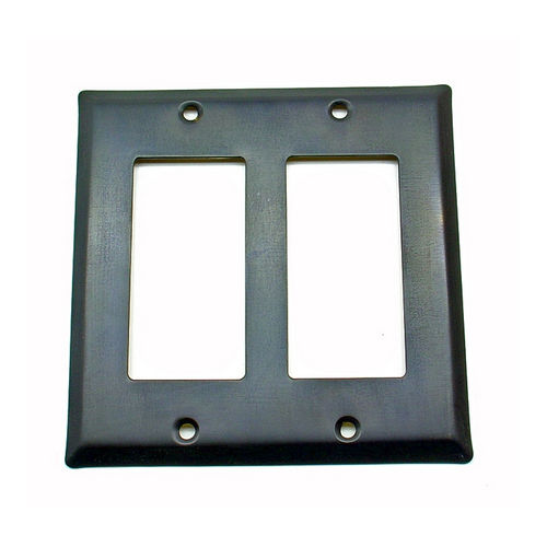 IDH 28056-10B Square Double Gfci Plate, Oil-Rubbed Bronze