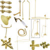 Kingston Brass CCK3182AL Vintage Wall Mount Down Spout Clawfoot Tub and Shower Package with Metal Lever Handles, Polished Brass