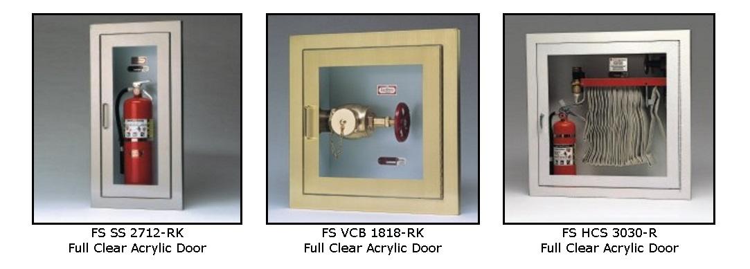 Larsens FSSSGR Flame Shield Gemini Series Clear Door - Semi recessed fire extinguisher cabinet